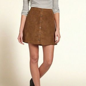 Hollister Brown High Waisted Faux Suede Skirt